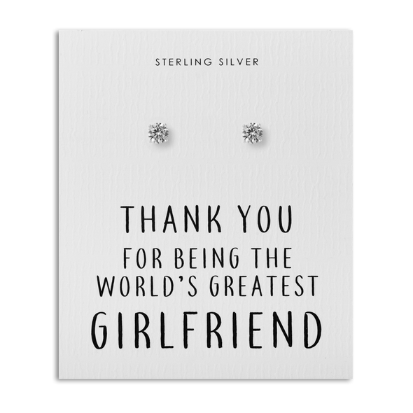 Sterling Silver 5mm CZ Earrings - World's Greatest Girlfriend