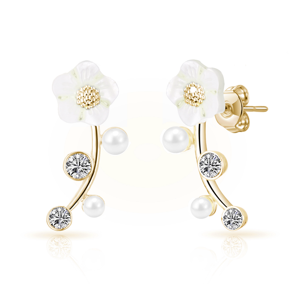 Gold Daisy Climber Earrings Created with Swarovski® Crystals