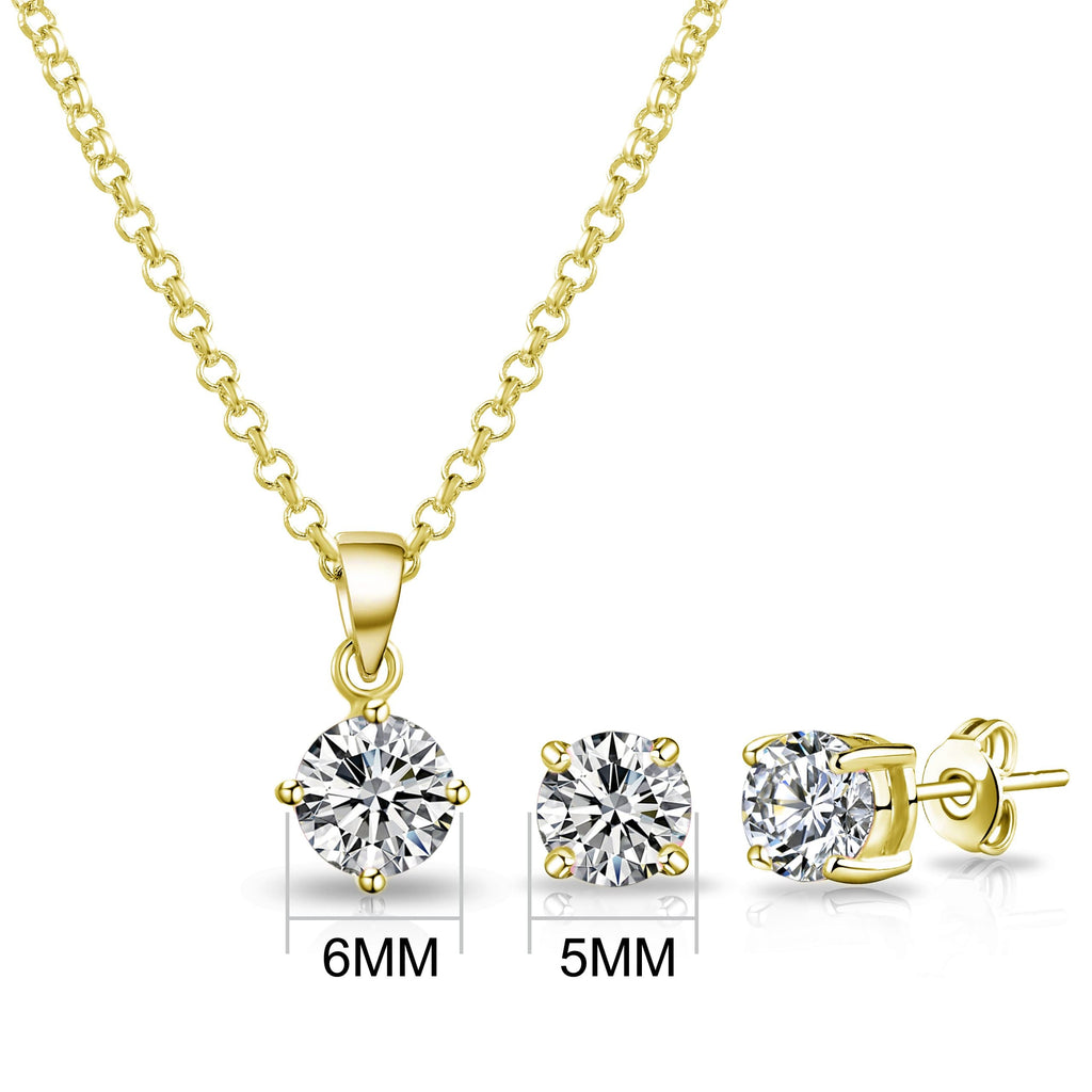 Gold Round Solitaire Set Created with Swarovski® Crystals