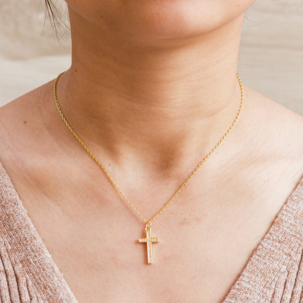 Gold Pave Crystal Cross Necklace Created with Swarovski® Crystals