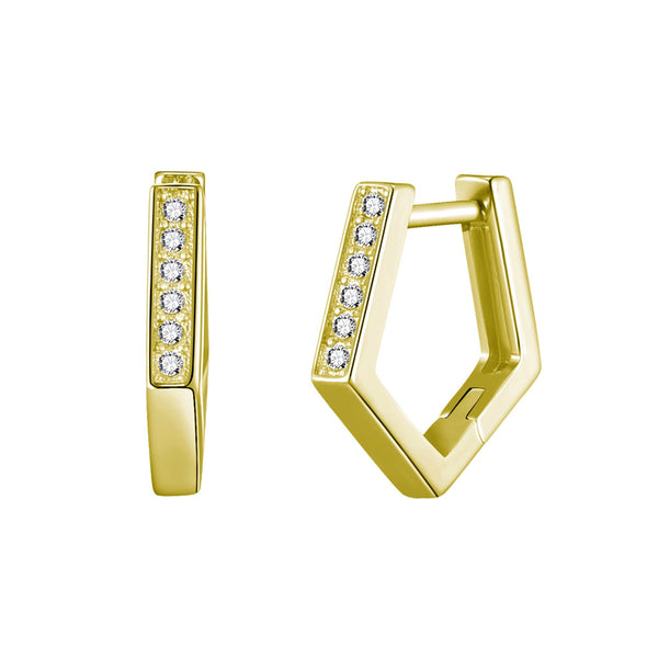 Gold Geometric Hoop Earrings Created with Swarovski® Crystals