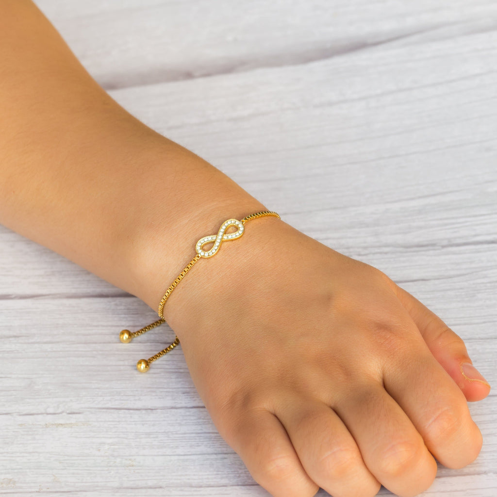 Gold Infinity Friendship Bracelet Created with Swarovski® Crystals