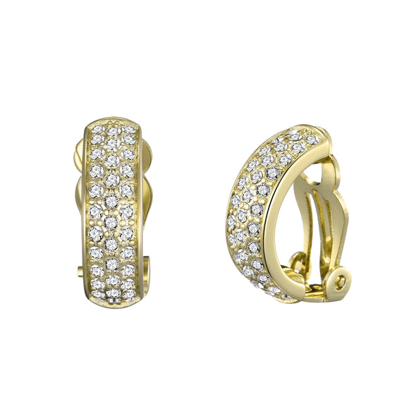 Gold Pave Clip On Earrings Created with Swarovski® Crystals