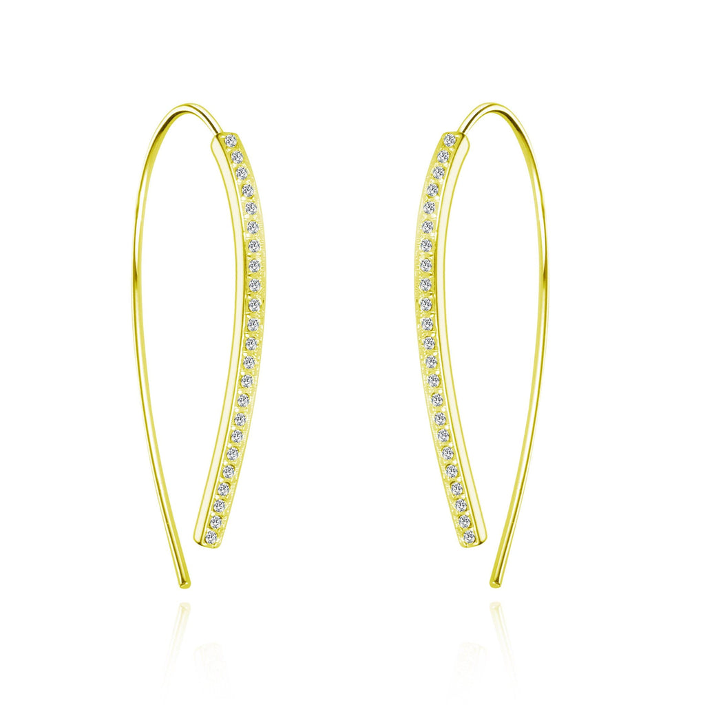 Gold Thread Earrings Created with Swarovski® Crystals
