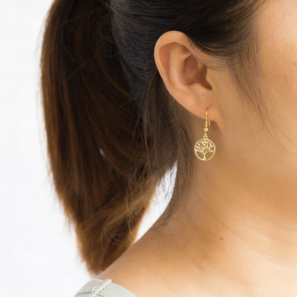 Gold Tree of Life Drop Earrings Created with Crystals from Swarovski®