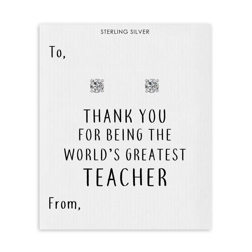 Sterling Silver World's Greatest Teacher Crystal Earrings