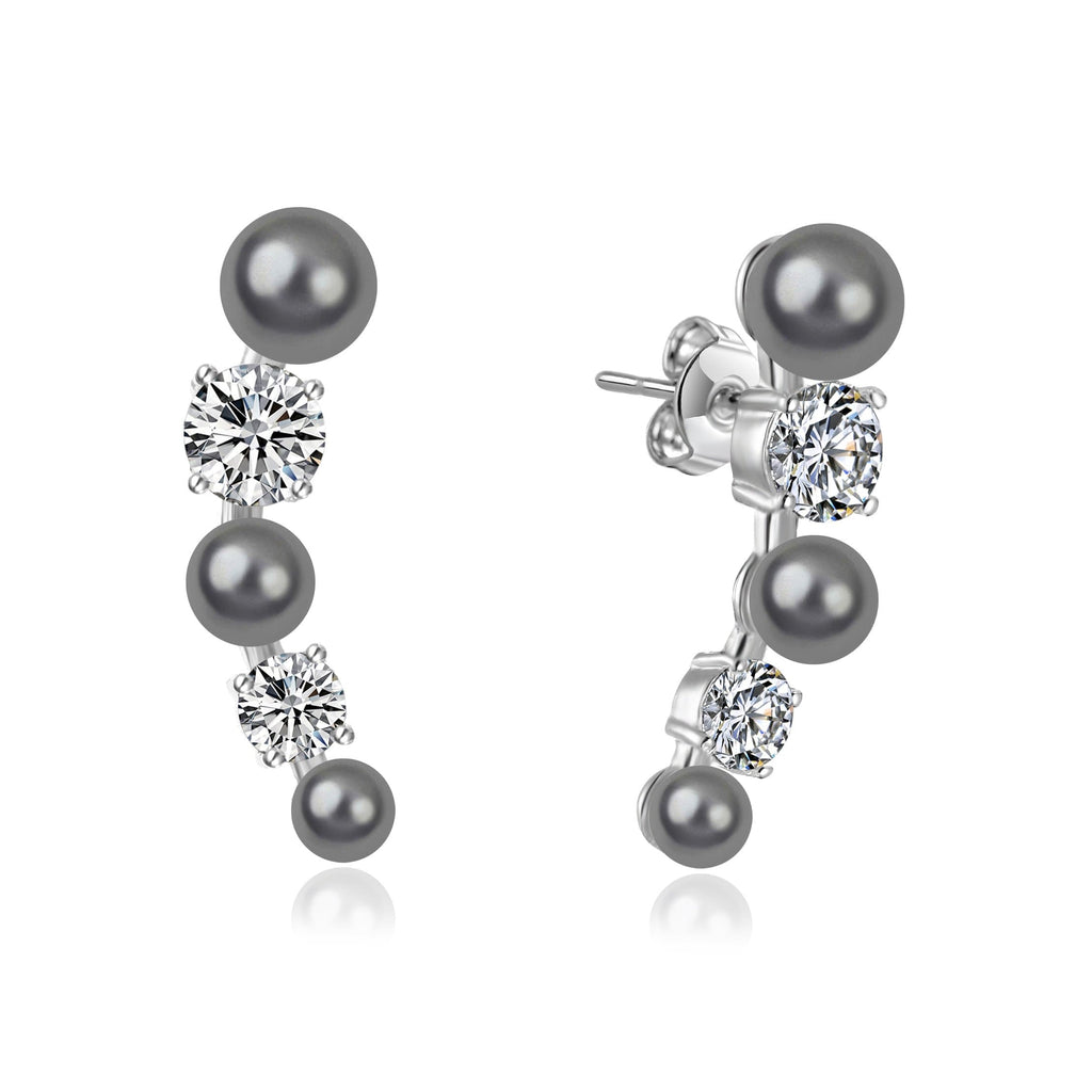 Grey Pearl Climber Earrings Created with Swarovski® Crystals