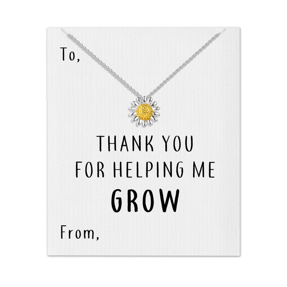Thank You For Helping Me Grow Daisy Necklace