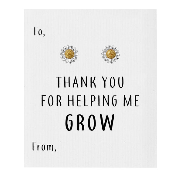 Thank You for Helping Me Grow Daisy Earrings