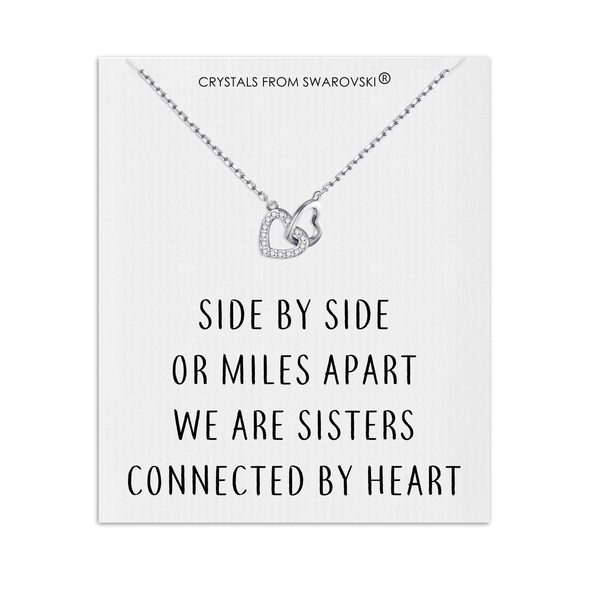 Sister Heart Link Necklace with Quote Card Created with Swarovski® Crystals