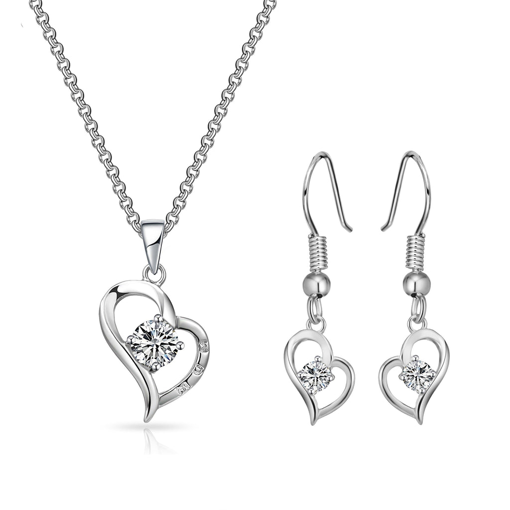 "Heart ""Mum"" Necklace and Earrings Set Created with Swarovski Crystals"
