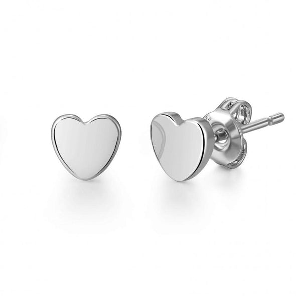 Silver-Tone Heart Stud Earrings
