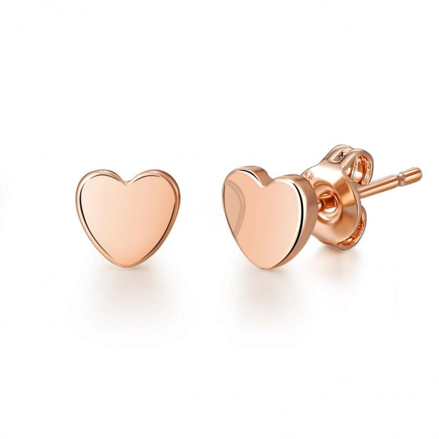 Rose Gold-Tone Heart Stud Earrings