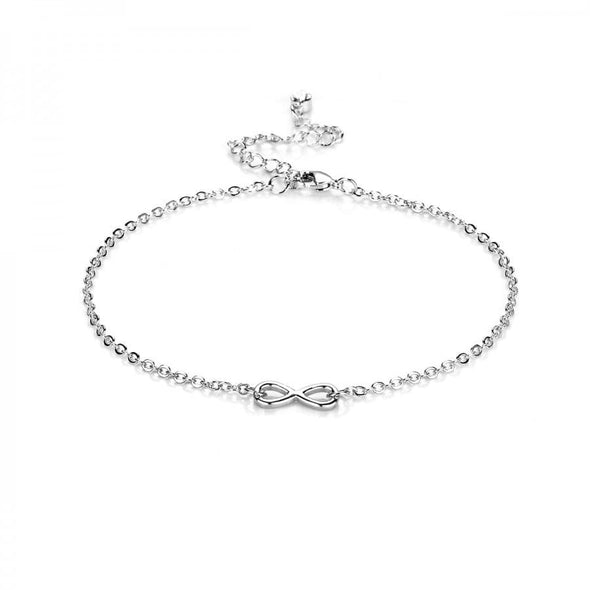 Silver Infinity Anklet Created with Swarovski Crystals