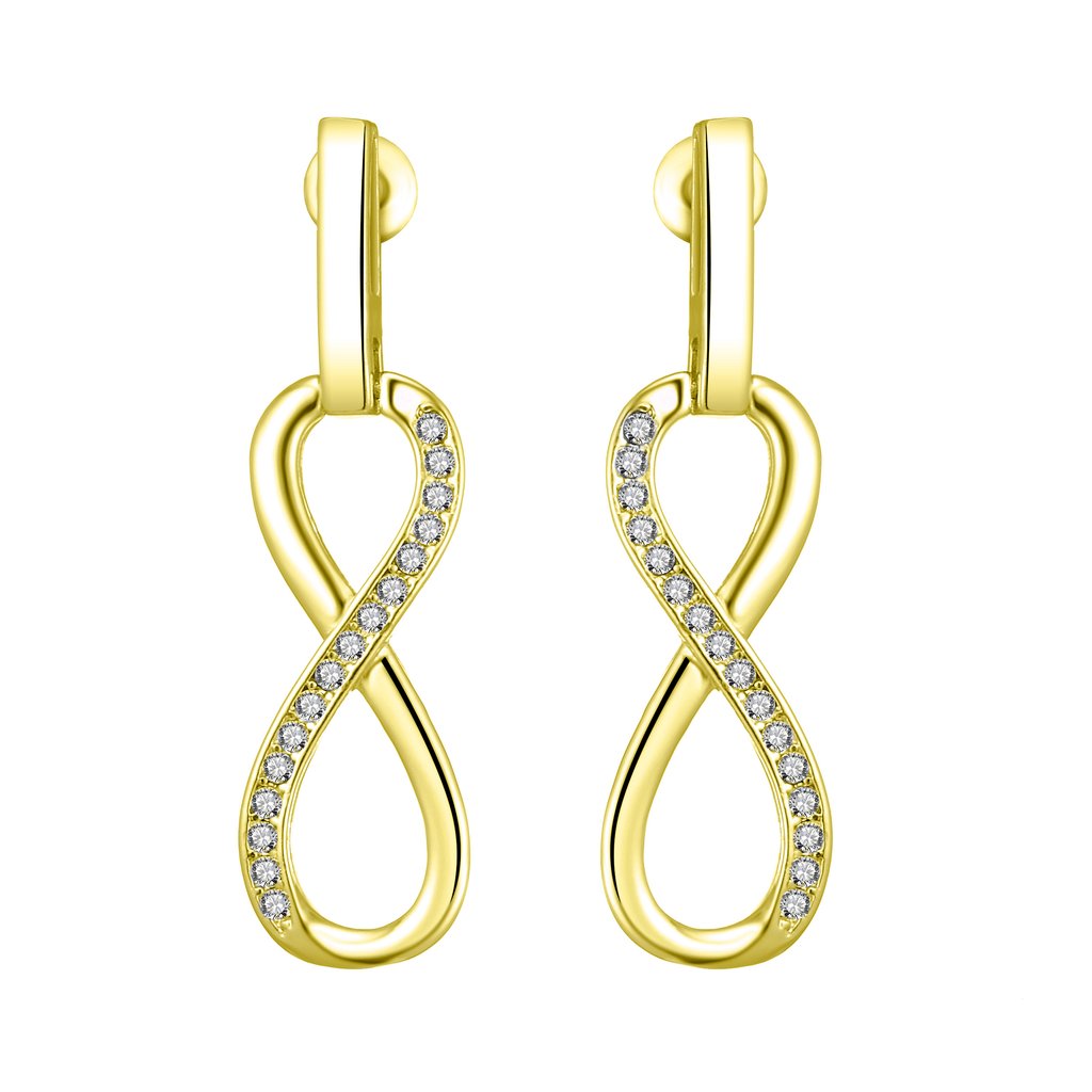 Gold Infinity Drop Earrings Created with Swarovski Crystals