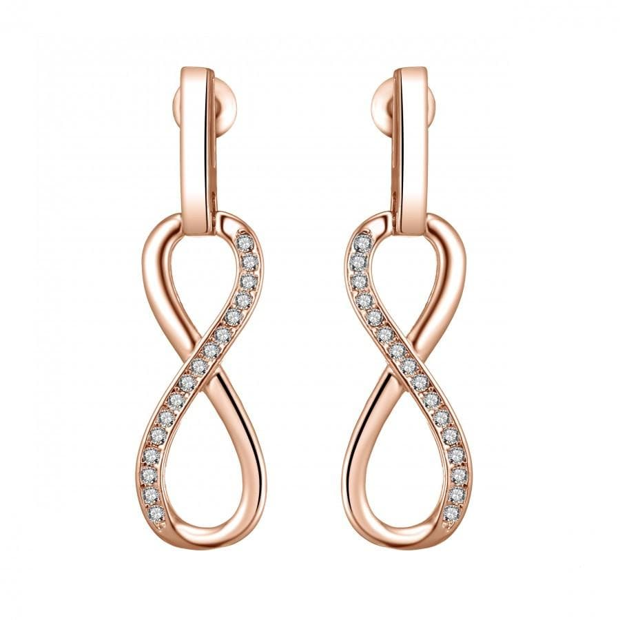 Rose Gold Infinity Drop Earrings Created with Swarovski Crystals