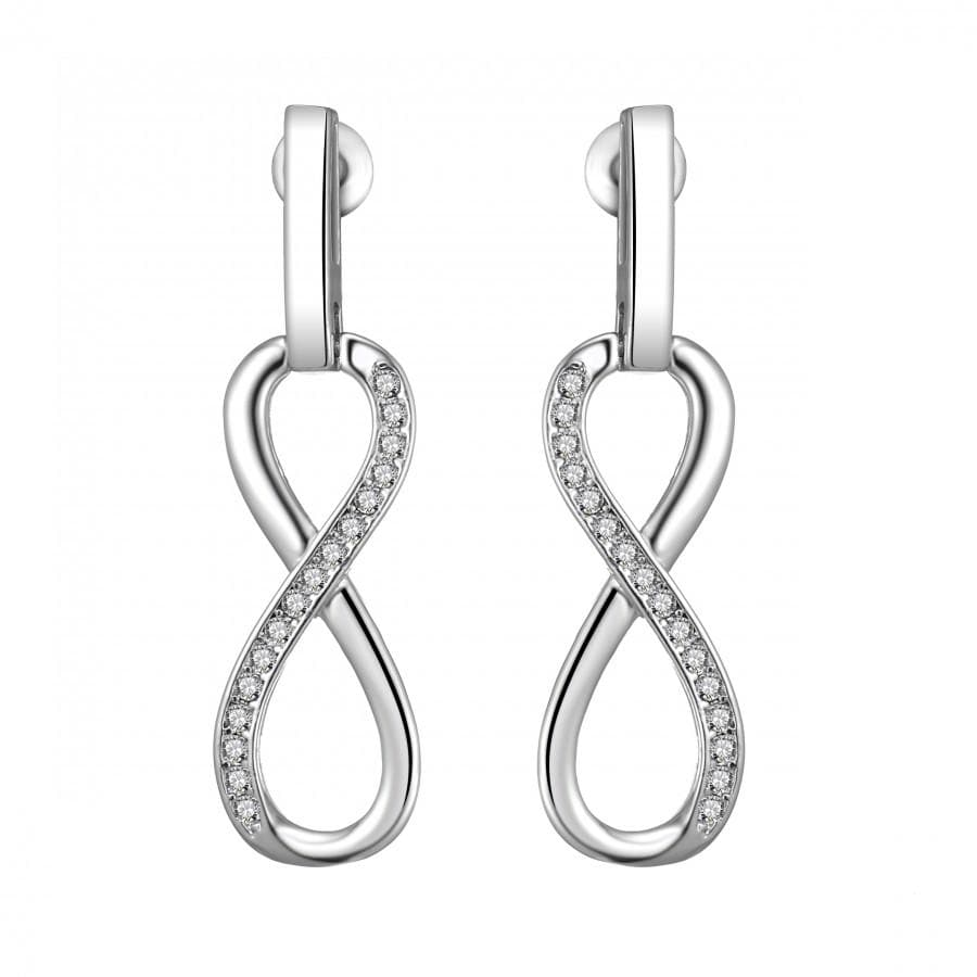 Silver Infinity Drop Earrings Created with Swarovski Crystals