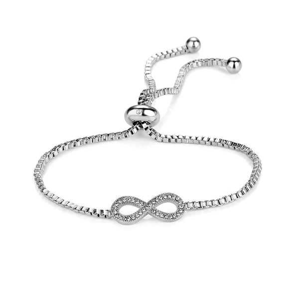 Silver Infinity Friendship Bracelet Created with Swarovski Crystals