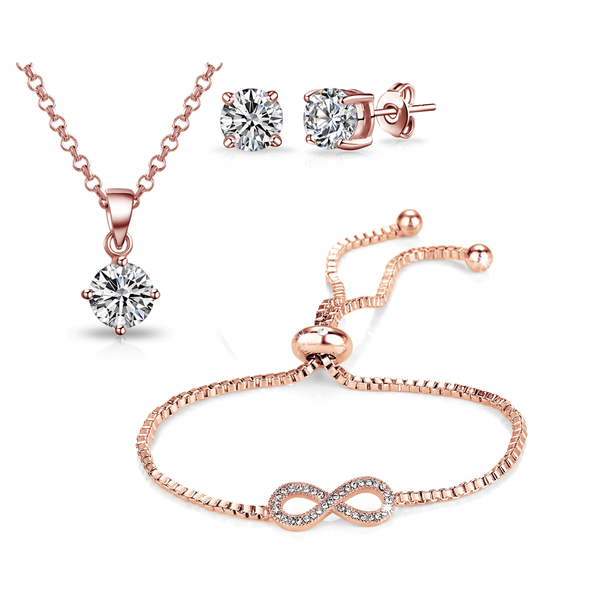 Rose Gold Infinity Friendship Set Created with Swarovski Crystals
