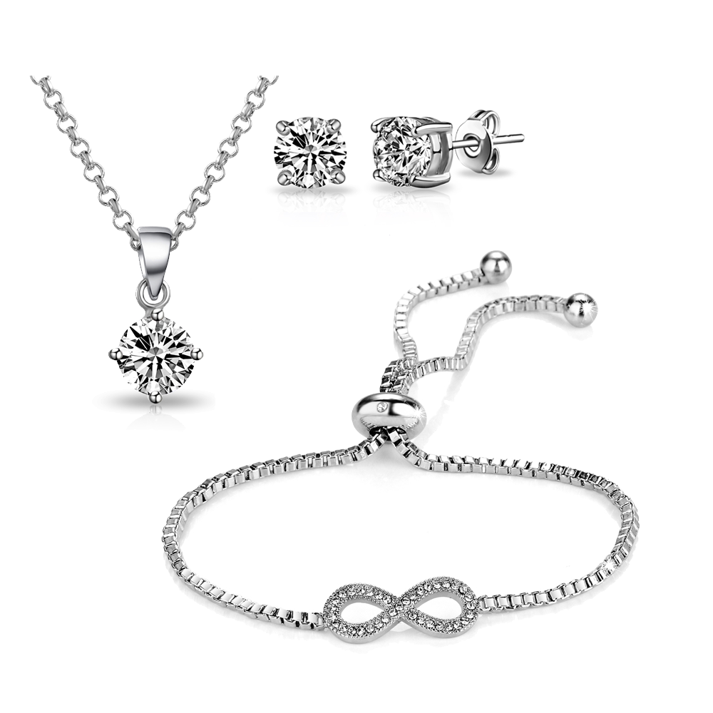 Silver Infinity Friendship Set Created with Swarovski Crystals