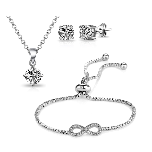 Silver-Tone Infinity Friendship Set