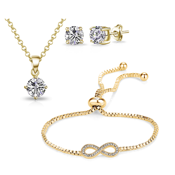Gold Infinity Friendship Set Created with Swarovski Crystals