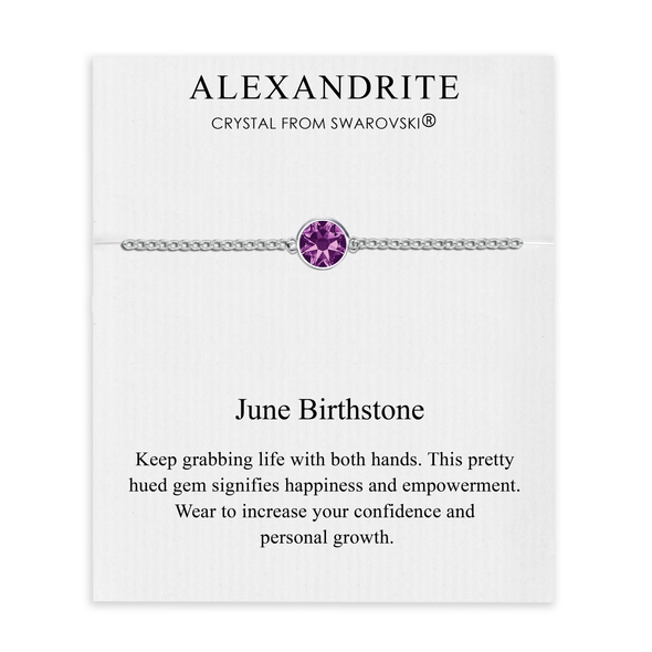 June (Alexandrite) Birthstone Anklet Created with Swarovski® Crystals