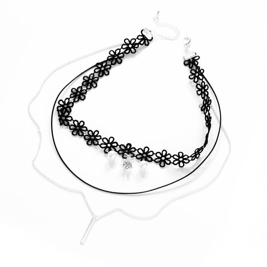 Layered Pearl Choker Necklace Created with Swarovski Crystals