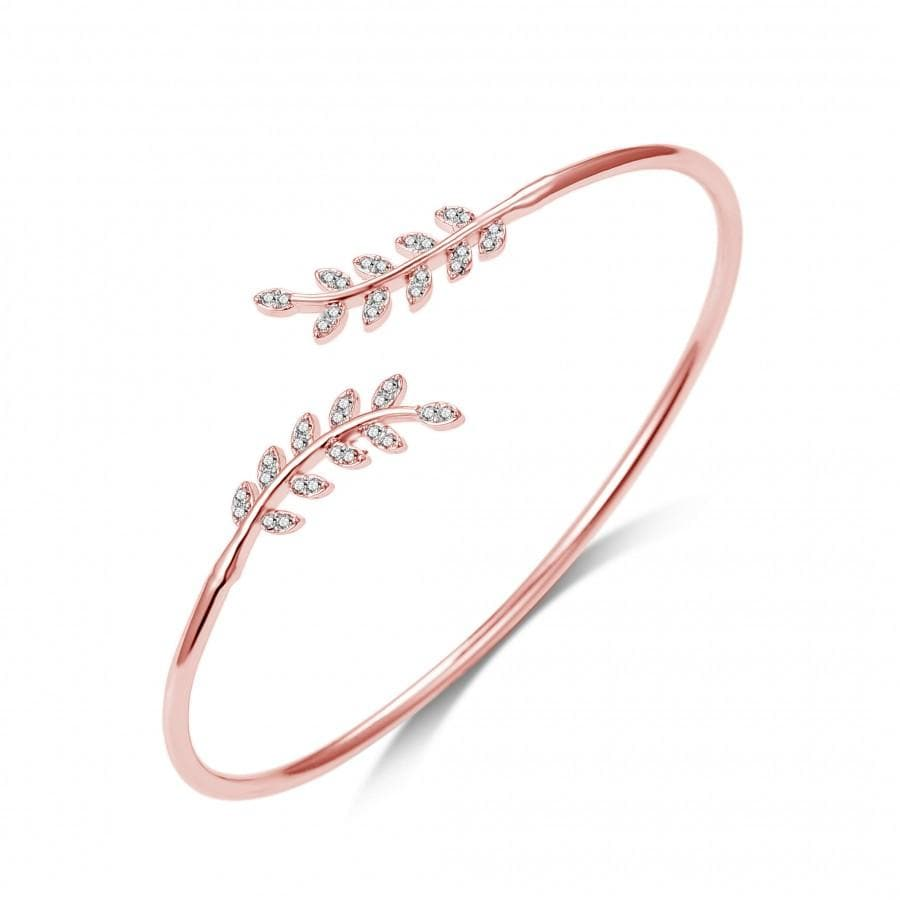Rose Gold Leaf Bangle Created with Swarovski Crystals