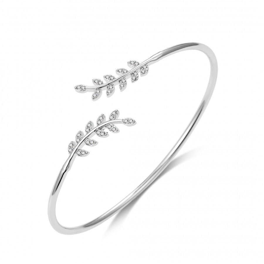 Silver Leaf Bangle Created with Swarovski Crystals
