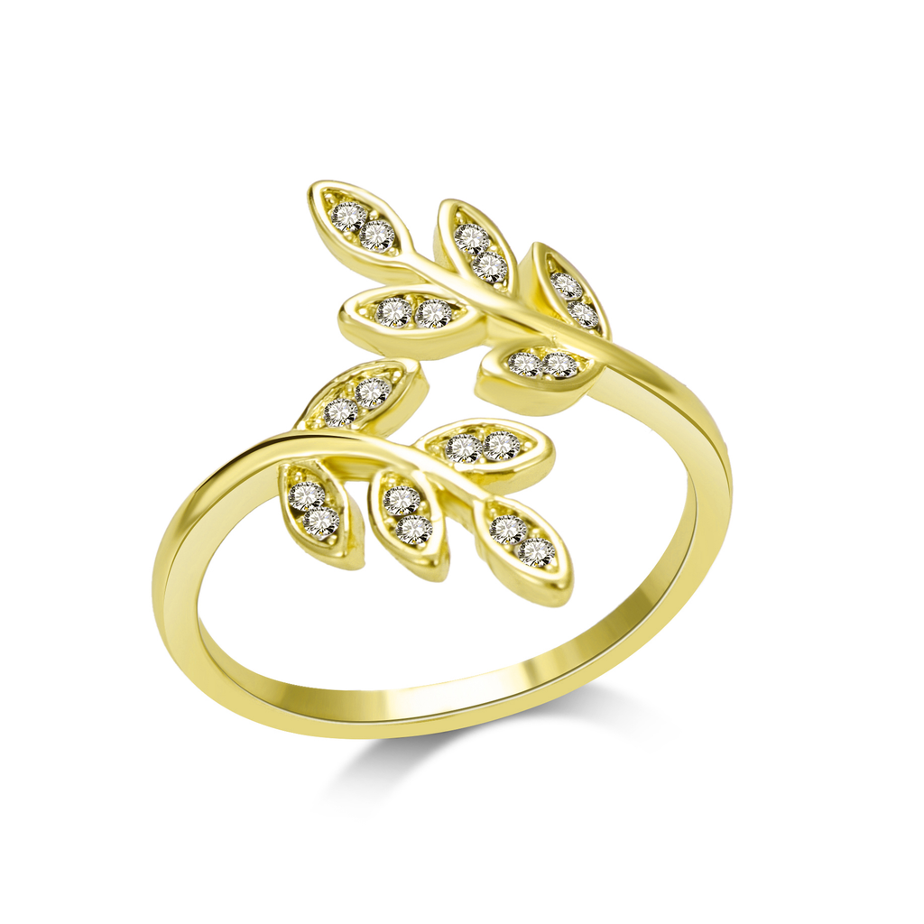 Gold-Tone Leaf Ring
