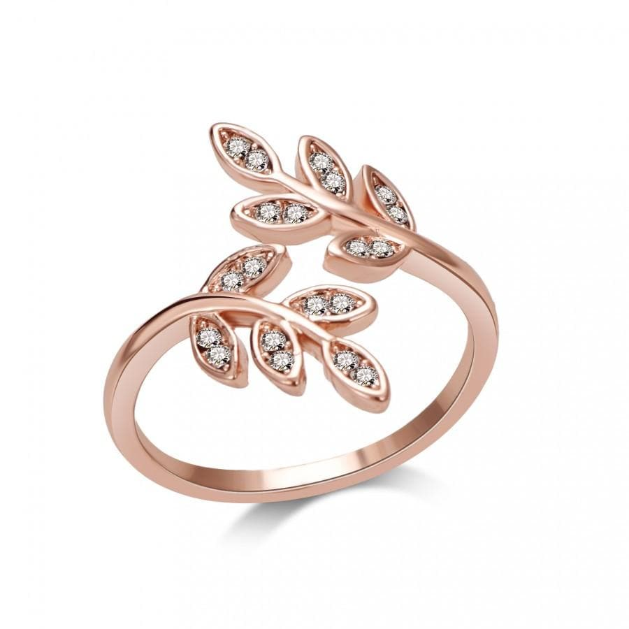 Rose Gold Leaf Ring Created with Swarovski Crystals