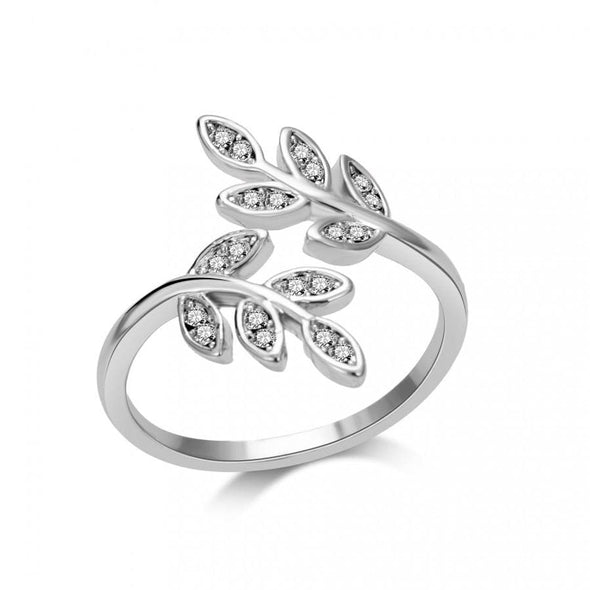 Silver Leaf Ring Created with Swarovski Crystals
