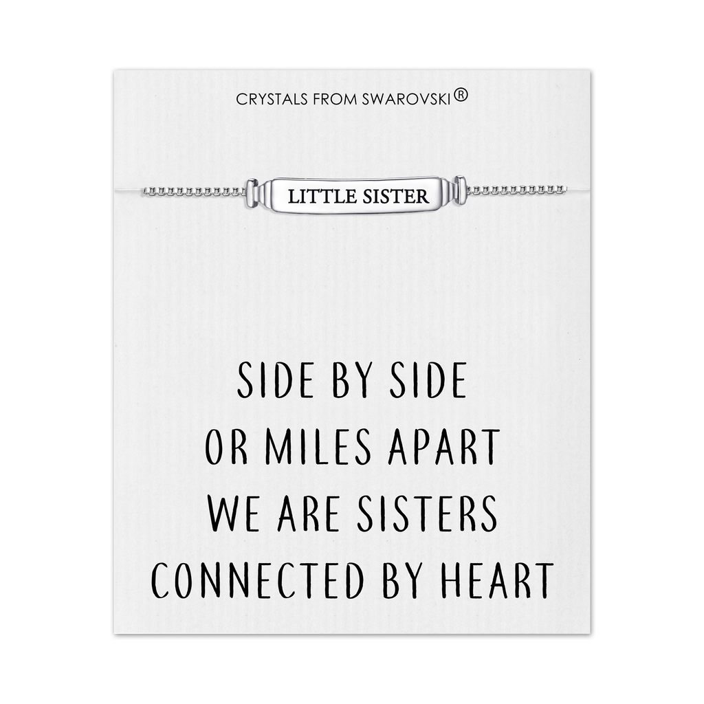 Little Sister ID Friendship Bracelet with Quote Card Created with Swarovski® Crystals