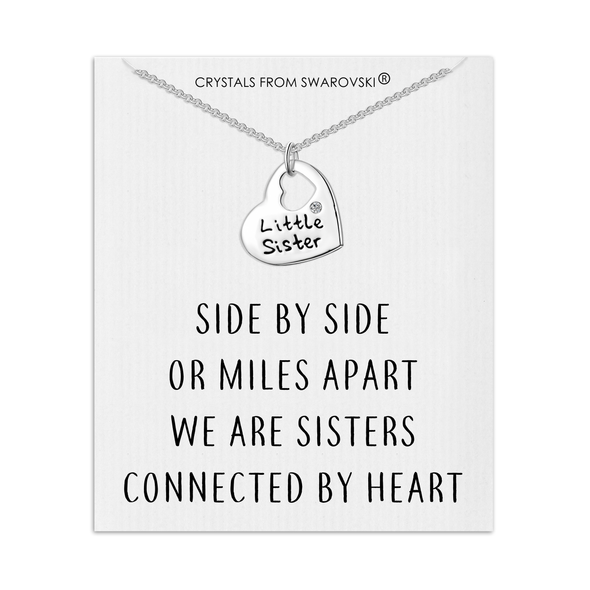 Little Sister Heart Necklace with Quote Card Created with Swarovski® Crystals