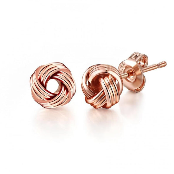 Rose Gold-Tone Love Knot Earrings