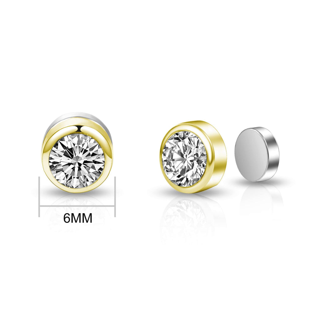 Gold 6mm Magnetic Clip On Earrings Created with Swarovski® Crystals