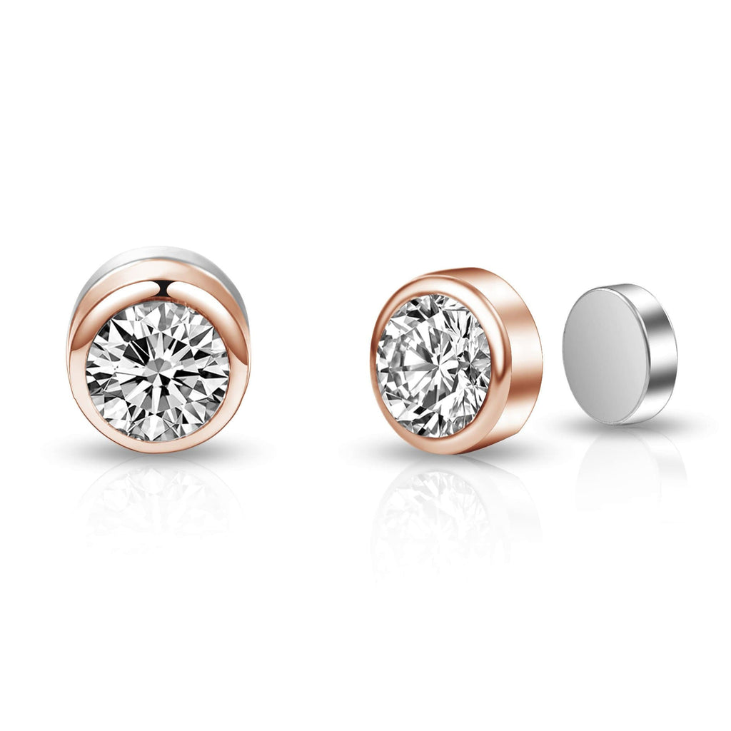 Rose Gold 6mm Magnetic Clip On Earrings Created with Swarovski Crystals