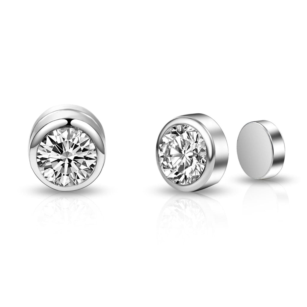 Silver 6mm Magnetic Clip On Earrings Created with Swarovski Crystals