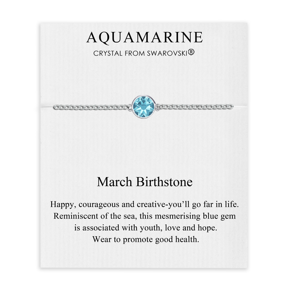 March (Aquamarine) Birthstone Anklet Created with Swarovski® Crystals