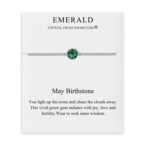 May (Emerald) Birthstone Anklet Created with Swarovski® Crystals