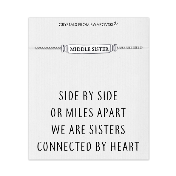 Middle Sister ID Friendship Bracelet with Quote Card Created with Swarovski® Crystals
