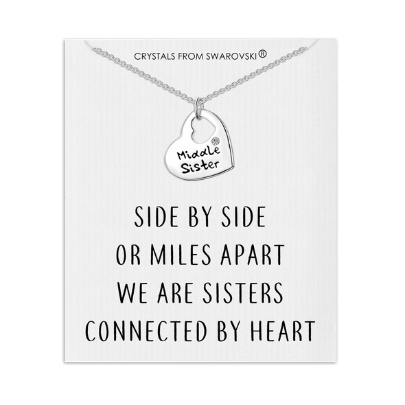 Middle Sister Heart Necklace with Quote Card Created with Swarovski® Crystals
