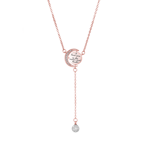 Rose Gold-Tone Moon and Back Necklace