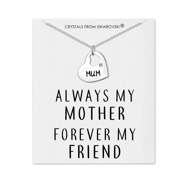 Mum Heart Necklace with Quote Card Created with Swarovski® Crystals