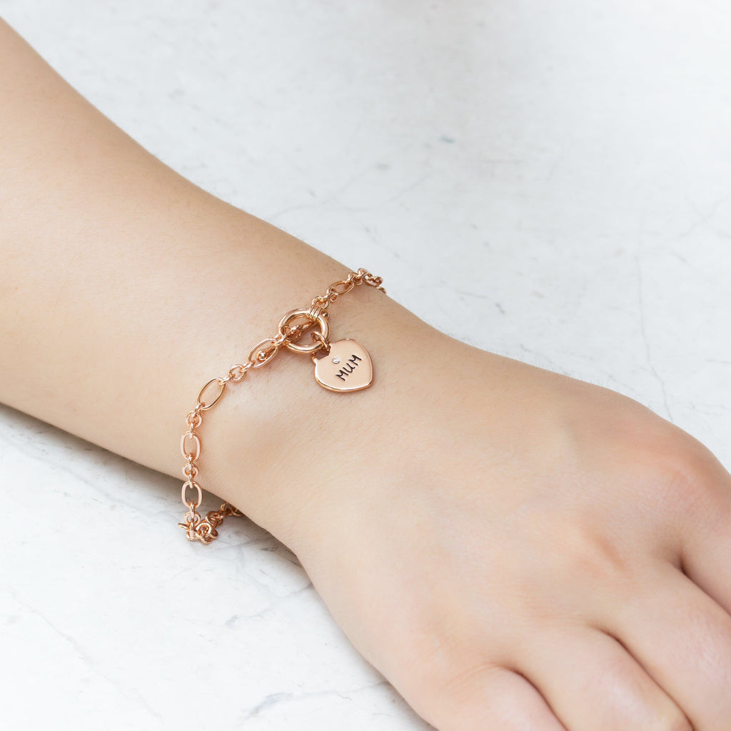 Rose Gold Mum Charm Bracelet Created with Swarovski® Crystals
