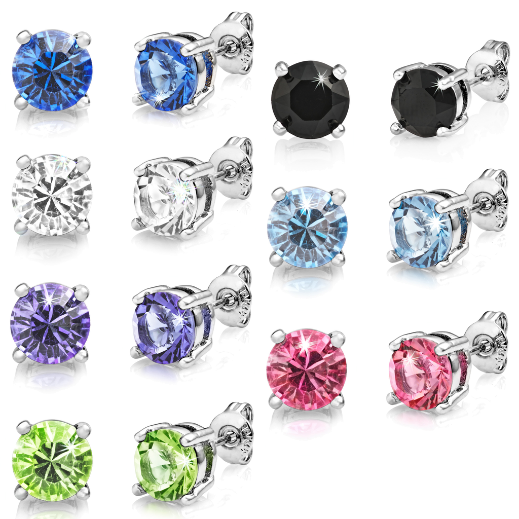 Seven Pack of Solitaire Earrings Created with Swarovski® Crystals