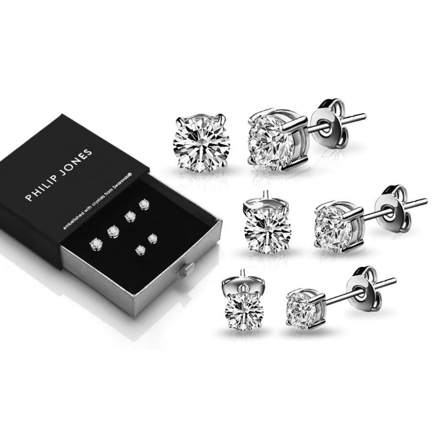 Three Pack of Silver-Tone 4mm, 5mm & 6mm Earrings