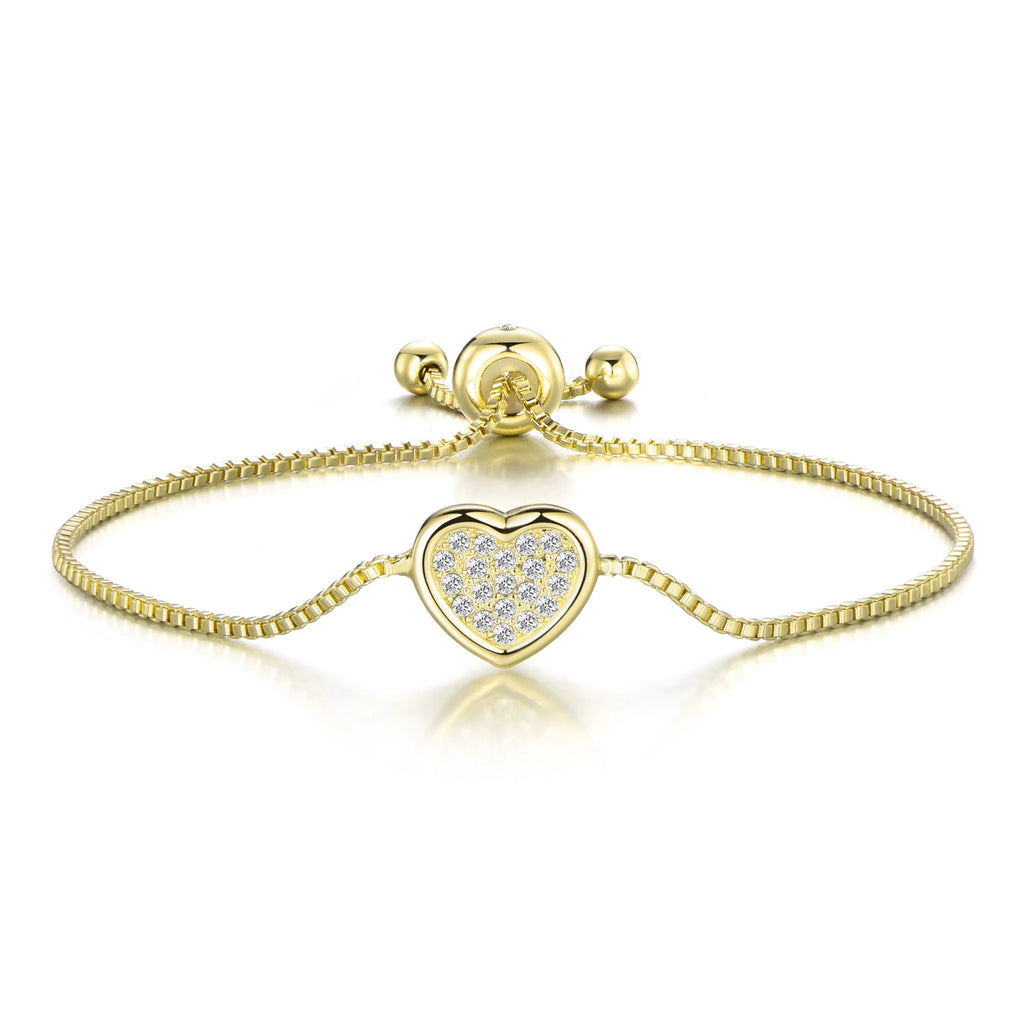 Gold Pave Heart Friendship Bracelet Created with Swarovski® Crystals