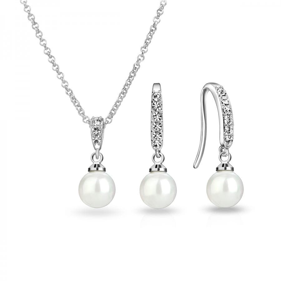 Silver Pearl Drop Set Created with Swarovski Crystals
